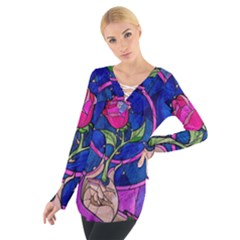 Enchanted Rose Stained Glass Women s Tie Up Tee
