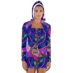Enchanted Rose Stained Glass Women s Long Sleeve Hooded T-shirt