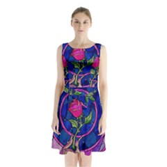 Enchanted Rose Stained Glass Sleeveless Waist Tie Chiffon Dress