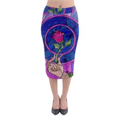 Enchanted Rose Stained Glass Midi Pencil Skirt
