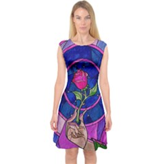 Enchanted Rose Stained Glass Capsleeve Midi Dress