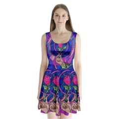 Enchanted Rose Stained Glass Split Back Mini Dress