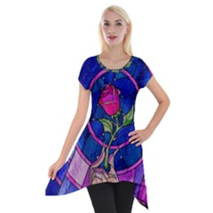 Enchanted Rose Stained Glass Short Sleeve Side Drop Tunic