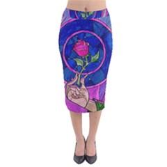 Enchanted Rose Stained Glass Velvet Midi Pencil Skirt