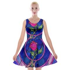 Enchanted Rose Stained Glass Velvet Skater Dress