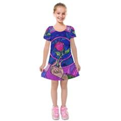 Enchanted Rose Stained Glass Kids  Short Sleeve Velvet Dress