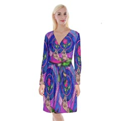 Enchanted Rose Stained Glass Long Sleeve Velvet Front Wrap Dress