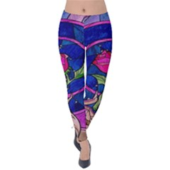 Enchanted Rose Stained Glass Velvet Leggings