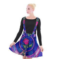 Enchanted Rose Stained Glass Suspender Skater Skirt