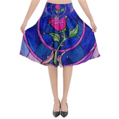 Enchanted Rose Stained Glass Flared Midi Skirt