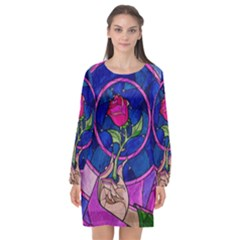 Enchanted Rose Stained Glass Long Sleeve Chiffon Shift Dress