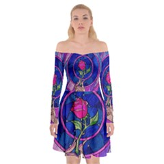 Enchanted Rose Stained Glass Off Shoulder Skater Dress