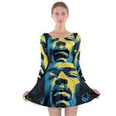 Gabz Jimi Hendrix Voodoo Child Poster Release From Dark Hall Mansion Long Sleeve Skater Dress