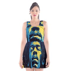 Gabz Jimi Hendrix Voodoo Child Poster Release From Dark Hall Mansion Scoop Neck Skater Dress