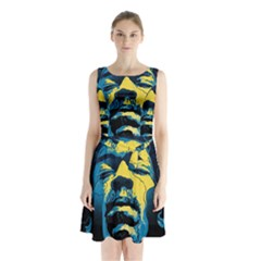 Gabz Jimi Hendrix Voodoo Child Poster Release From Dark Hall Mansion Sleeveless Waist Tie Chiffon Dress