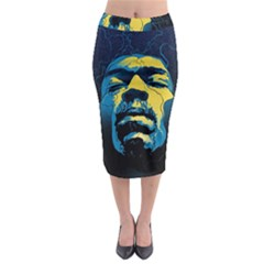 Gabz Jimi Hendrix Voodoo Child Poster Release From Dark Hall Mansion Midi Pencil Skirt