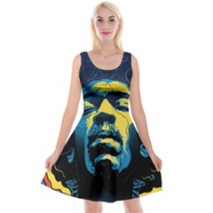 Gabz Jimi Hendrix Voodoo Child Poster Release From Dark Hall Mansion Reversible Velvet Sleeveless Dress