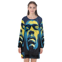 Gabz Jimi Hendrix Voodoo Child Poster Release From Dark Hall Mansion Long Sleeve Chiffon Shift Dress