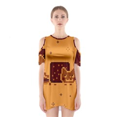 Nyan Cat Vintage Shoulder Cutout One Piece