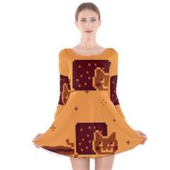 Nyan Cat Vintage Long Sleeve Velvet Skater Dress