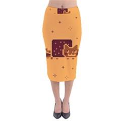 Nyan Cat Vintage Velvet Midi Pencil Skirt