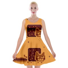 Nyan Cat Vintage Velvet Skater Dress