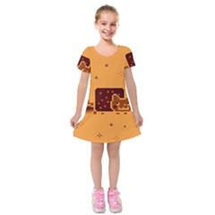 Nyan Cat Vintage Kids  Short Sleeve Velvet Dress