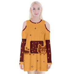 Nyan Cat Vintage Velvet Long Sleeve Shoulder Cutout Dress
