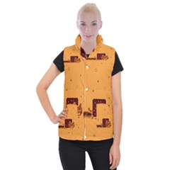 Nyan Cat Vintage Women s Button Up Puffer Vest