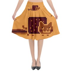 Nyan Cat Vintage Flared Midi Skirt