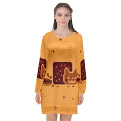 Nyan Cat Vintage Long Sleeve Chiffon Shift Dress
