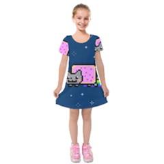 Nyan Cat Kids  Short Sleeve Velvet Dress