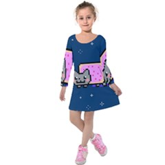 Nyan Cat Kids  Long Sleeve Velvet Dress