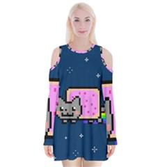 Nyan Cat Velvet Long Sleeve Shoulder Cutout Dress