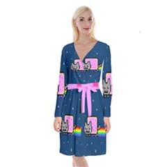 Nyan Cat Long Sleeve Velvet Front Wrap Dress
