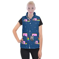 Nyan Cat Women s Button Up Puffer Vest