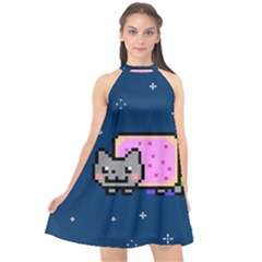 Nyan Cat Halter Neckline Chiffon Dress