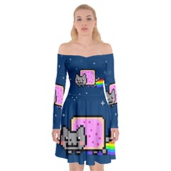 Nyan Cat Off Shoulder Skater Dress