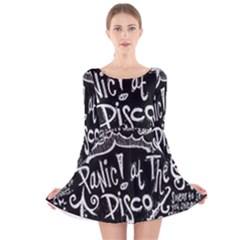 Panic ! At The Disco Lyric Quotes Long Sleeve Velvet Skater Dress