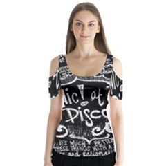 Panic ! At The Disco Lyric Quotes Butterfly Sleeve Cutout Tee