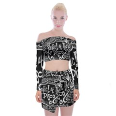 Panic ! At The Disco Lyric Quotes Off Shoulder Top with Skirt Set