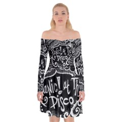 Panic ! At The Disco Lyric Quotes Off Shoulder Skater Dress