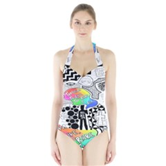 Panic ! At The Disco Halter Swimsuit