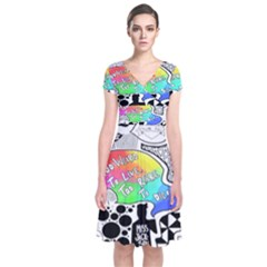 Panic ! At The Disco Short Sleeve Front Wrap Dress