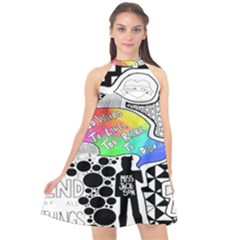 Panic ! At The Disco Halter Neckline Chiffon Dress