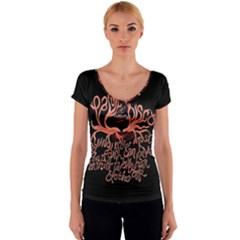 Panic At The Disco   Lying Is The Most Fun A Girl Have Without Taking Her Clothes Women s V-Neck Cap Sleeve Top