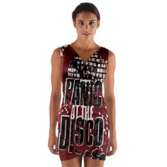 Panic At The Disco Poster Wrap Front Bodycon Dress