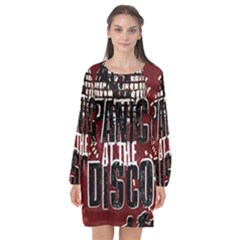 Panic At The Disco Poster Long Sleeve Chiffon Shift Dress