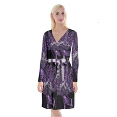 Panic At The Disco Long Sleeve Velvet Front Wrap Dress