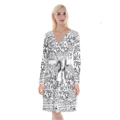 Panic! At The Disco Lyric Quotes Long Sleeve Velvet Front Wrap Dress